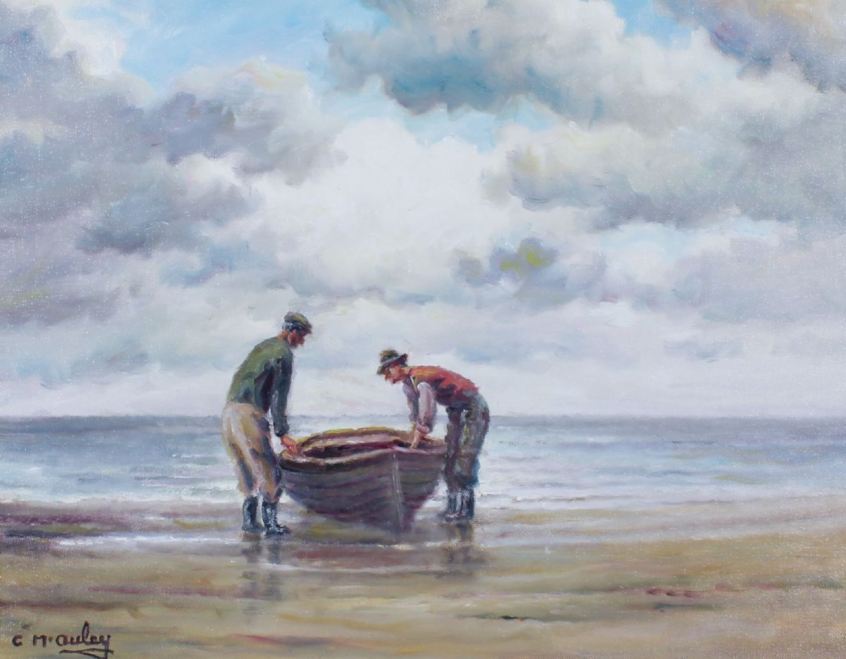 Launching The Boat On The Antrim Coast by Charles McAuley