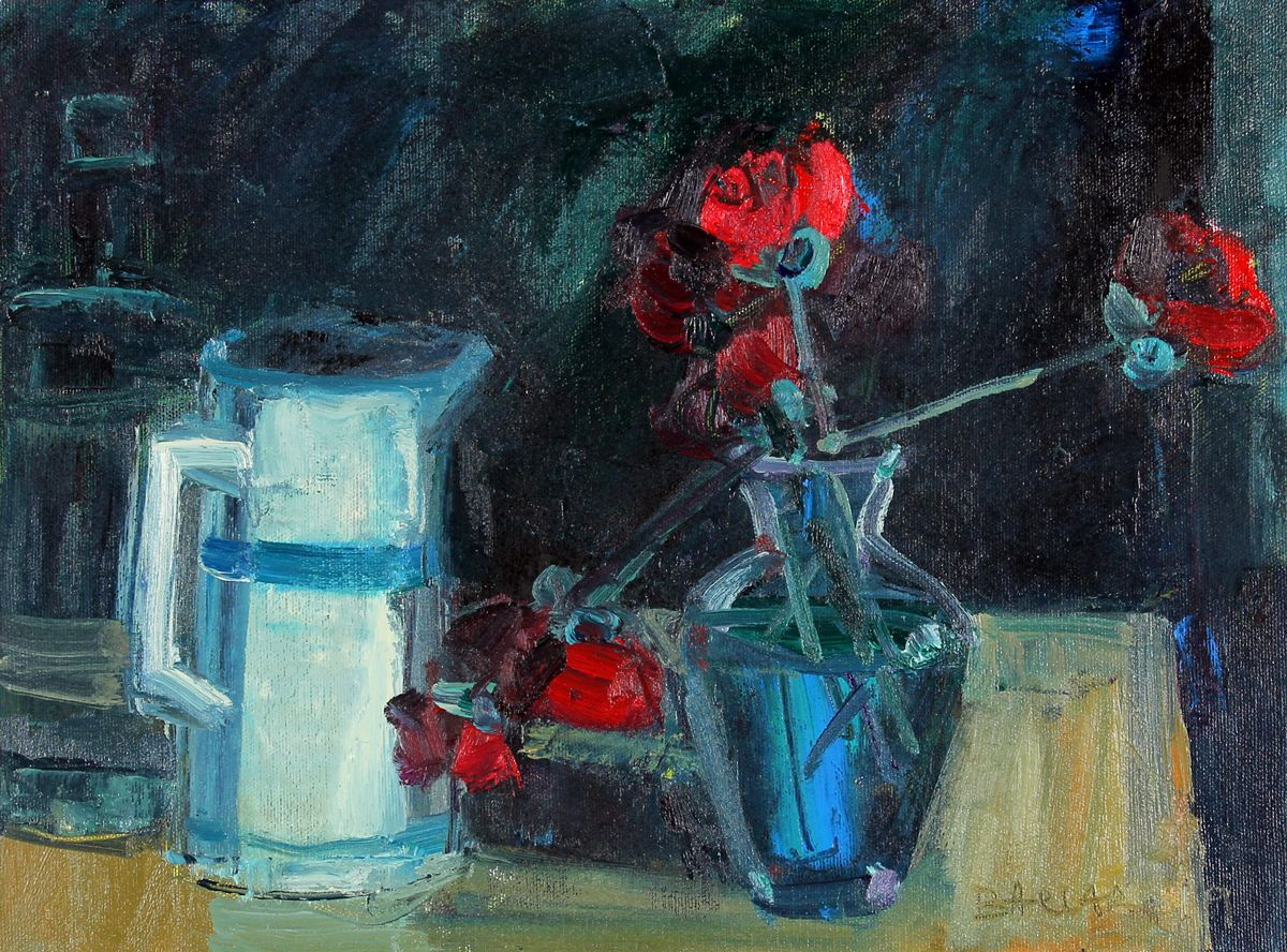 Jug and Vase with Flowers by Brian Ballard
