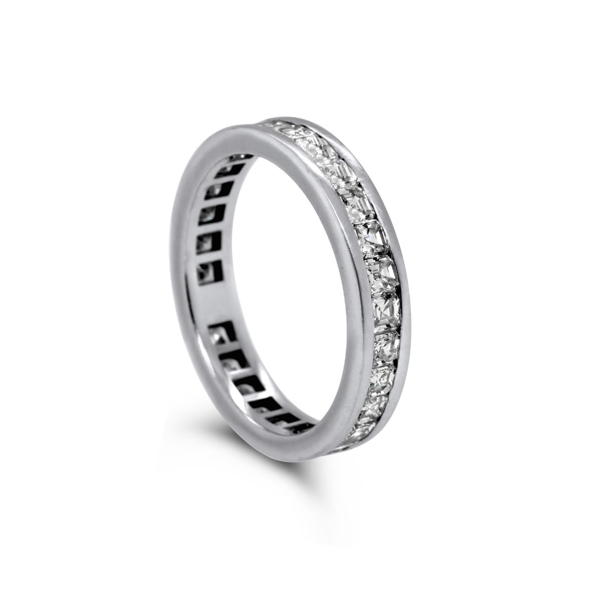 14k white gold and asscher-cut diamond full eternity band -  Ring