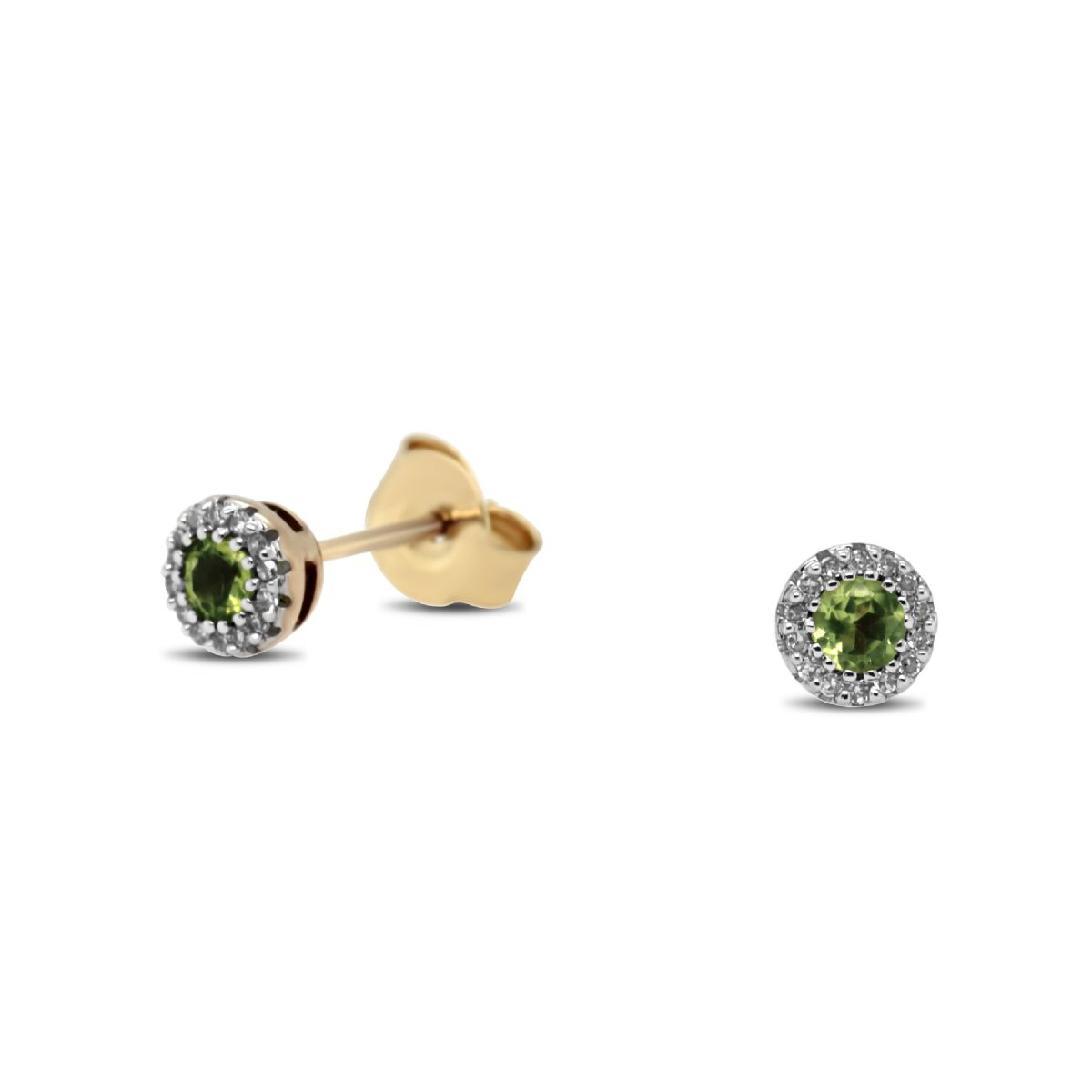 9k gold diamond and peridot stud earrings - Earrings