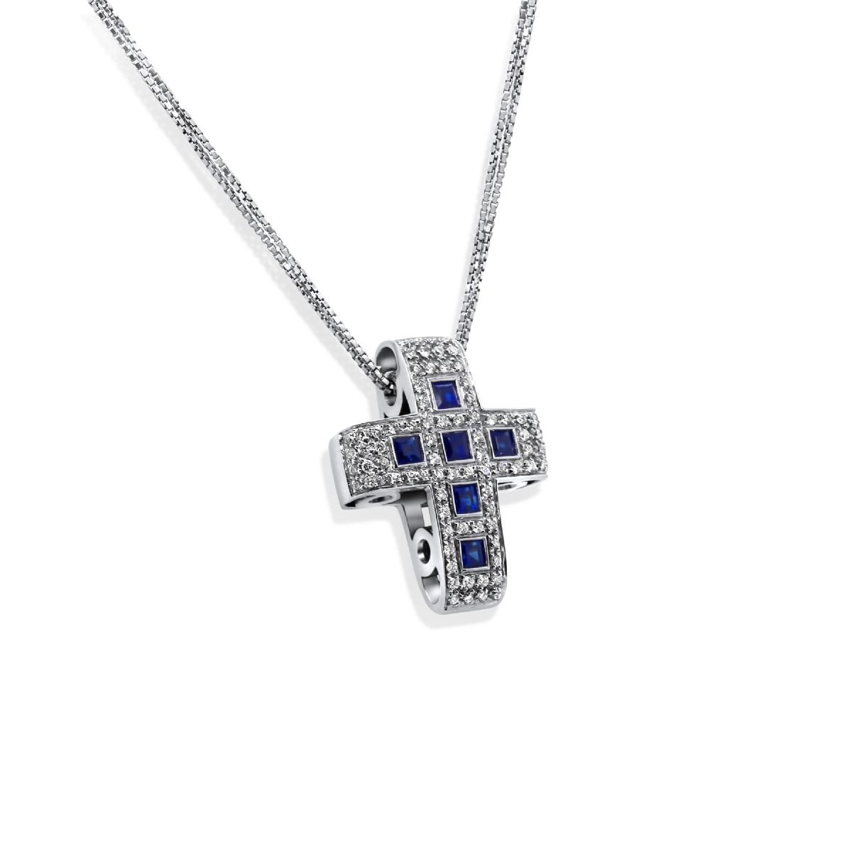 18k gold diamond sapphire cross - Necklace