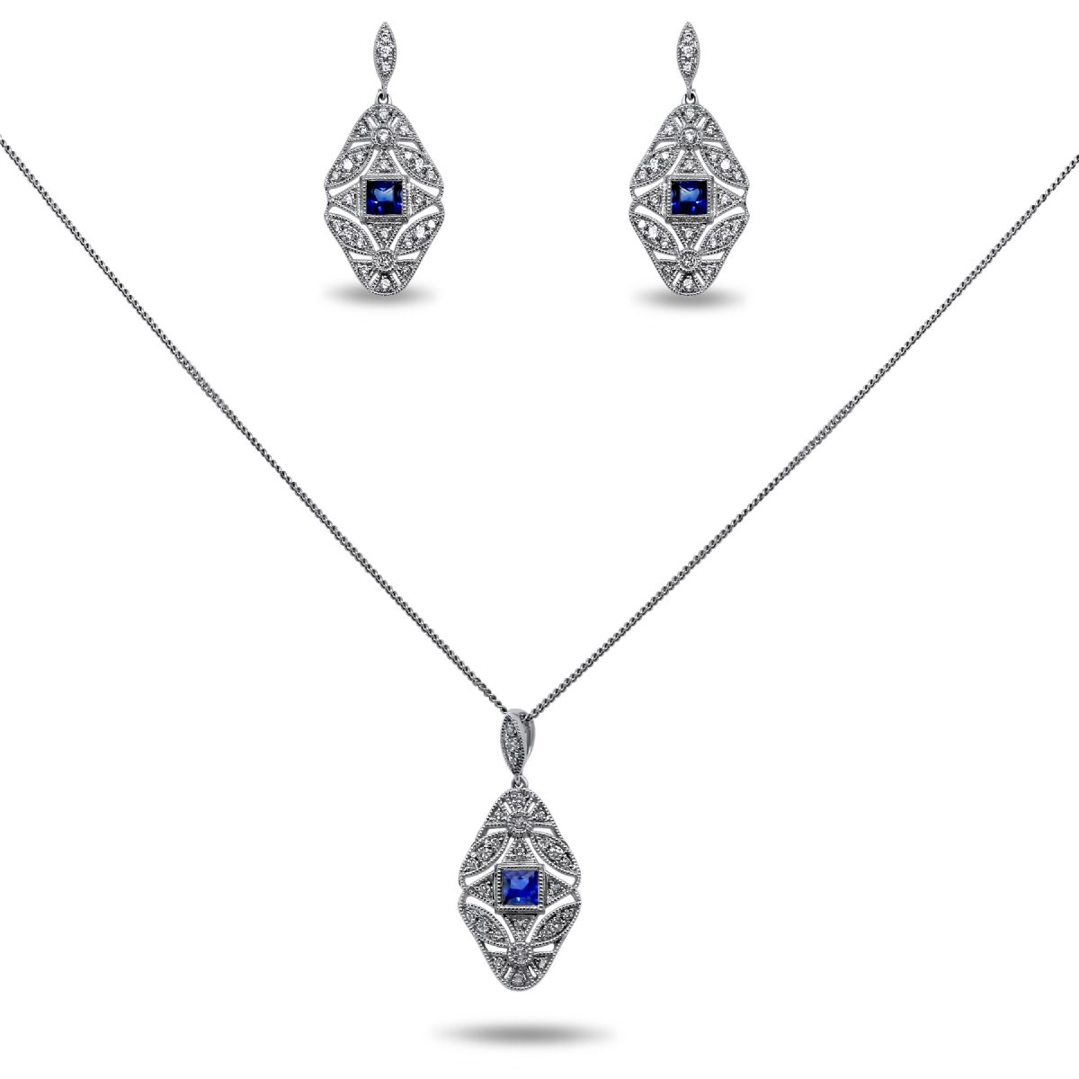 18k white gold sapphire and diamond necklace and earring set - Necklace