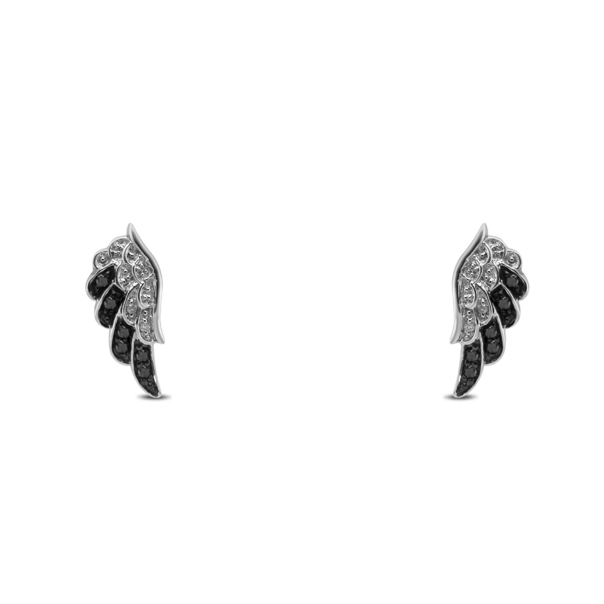 18k white gold black and white diamond wing stud earrings - Earrings