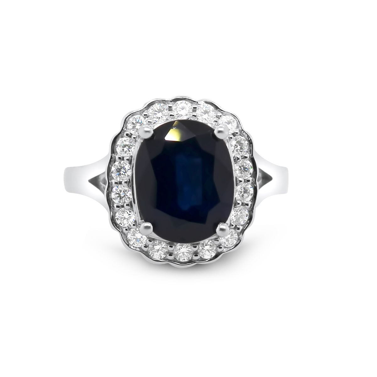 18k white gold sapphire and diamond cluster ring -  Ring
