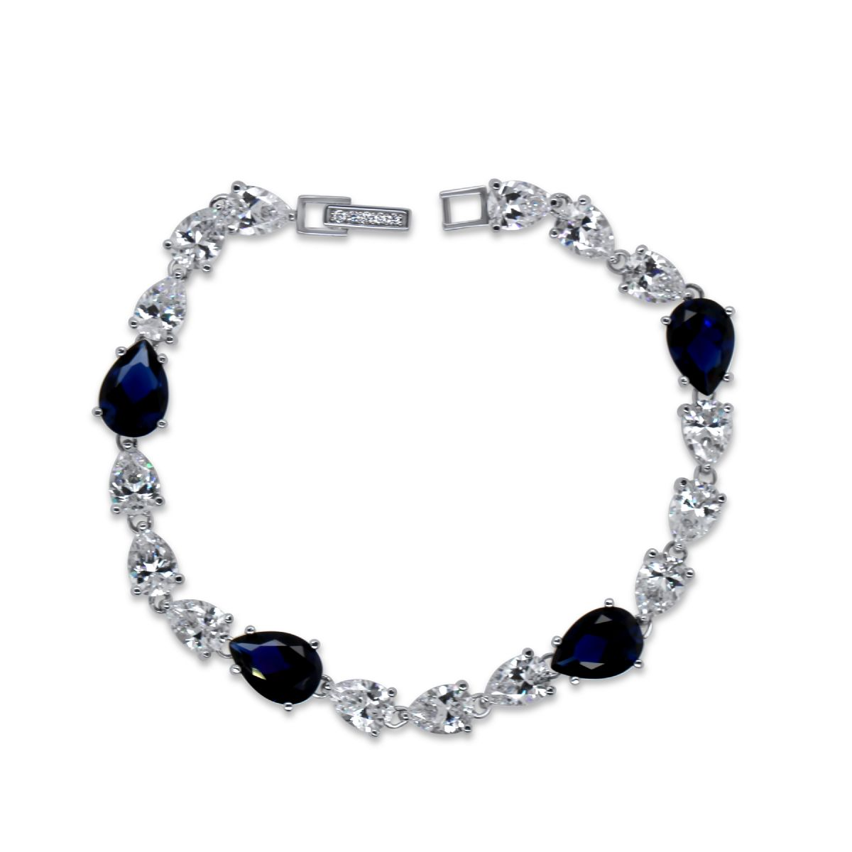 Silver and synthetic blue and clear CZ bracelet. - Bracelet