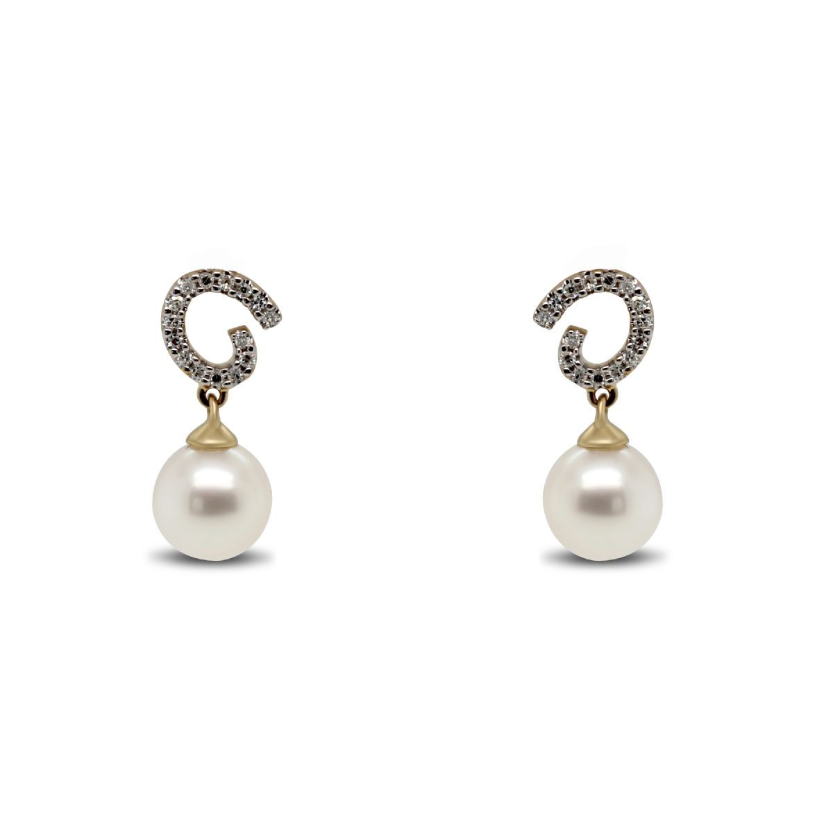 9k gold diamond and pearl drop earrings - Earrings