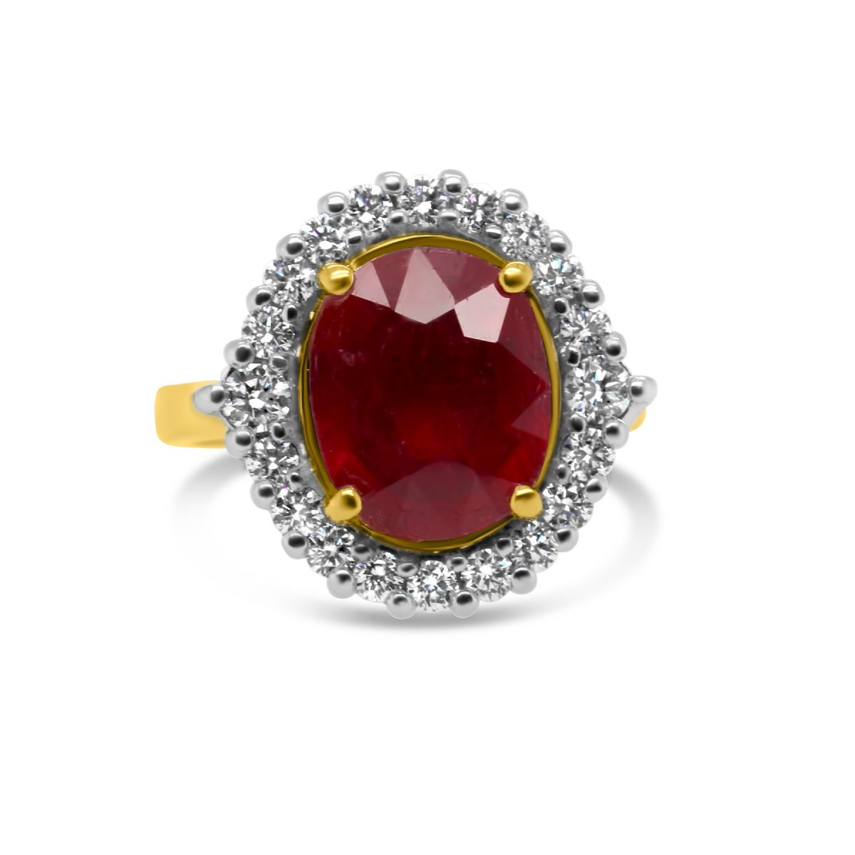 18k yellow gold ruby and diamond cluster ring -  Ring