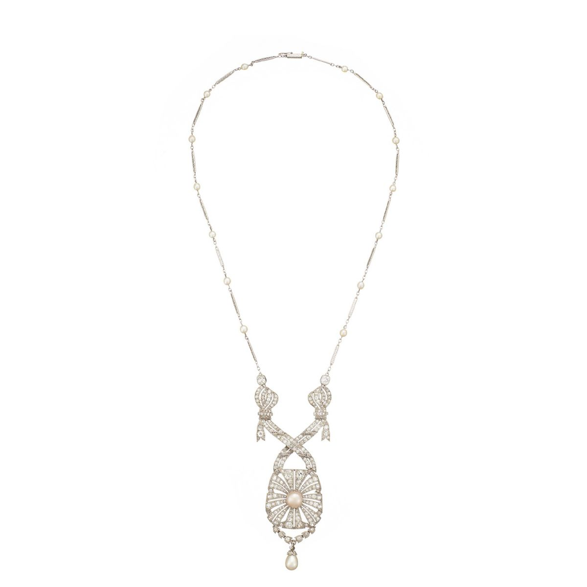 Edwardian platinum diamond and natural pearl necklace - Necklace